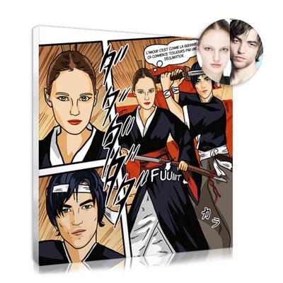 portrait de couple personnalisee manga samourai