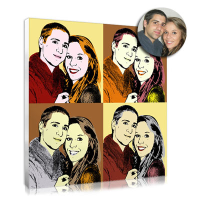 Unique pop art portrait for couple tio offer at Christmas